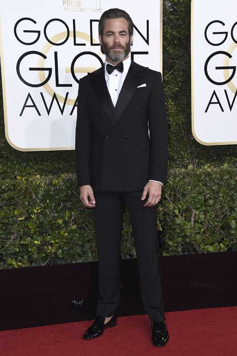 Chris Pine arrives at the 74th annual Golden Globe Awards at the Beverly Hilton Hotel on Sunday, Jan. 8, 2017, in Beverly Hills, Calif. (Photo by Jordan Strauss/Invision/AP)