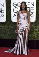 Naomi Campbell arrives at the 74th annual Golden Globe Awards at the Beverly Hilton Hotel on Sunday, Jan. 8, 2017, in Beverly Hills, Calif. (Photo by Jordan Strauss/Invision/AP)