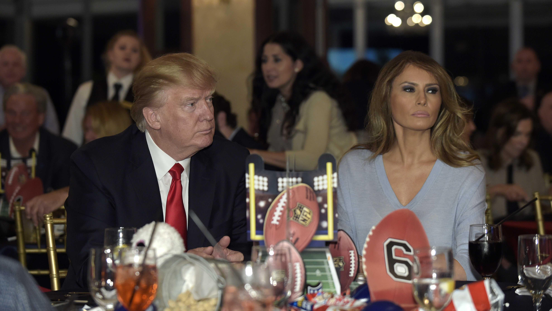 Donald and Melania Trump at a Super Bowl party