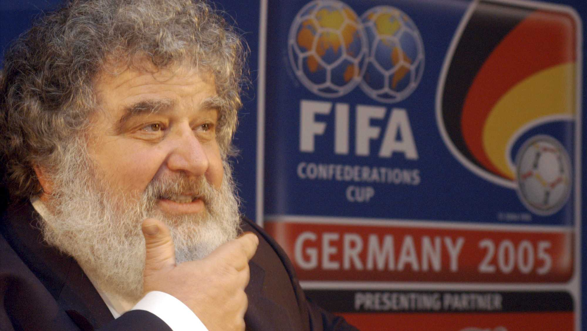 In this Feb. 14, 2005 file photo, Confederation of North, Central American and Caribbean Association Football (CONCACAF) general secretary Chuck Blazer attends a press conference in Frankfurt, Germany. Blazer, the disgraced American soccer executive whose admissions of corruption set off a global scandal that ultimately toppled FIFA President Sepp Blatter, has died. He was 72. Blazer's death was announced Wednesday, July 12, 2017, by his lawyers, Eric Corngold and Mary Mulligan.
