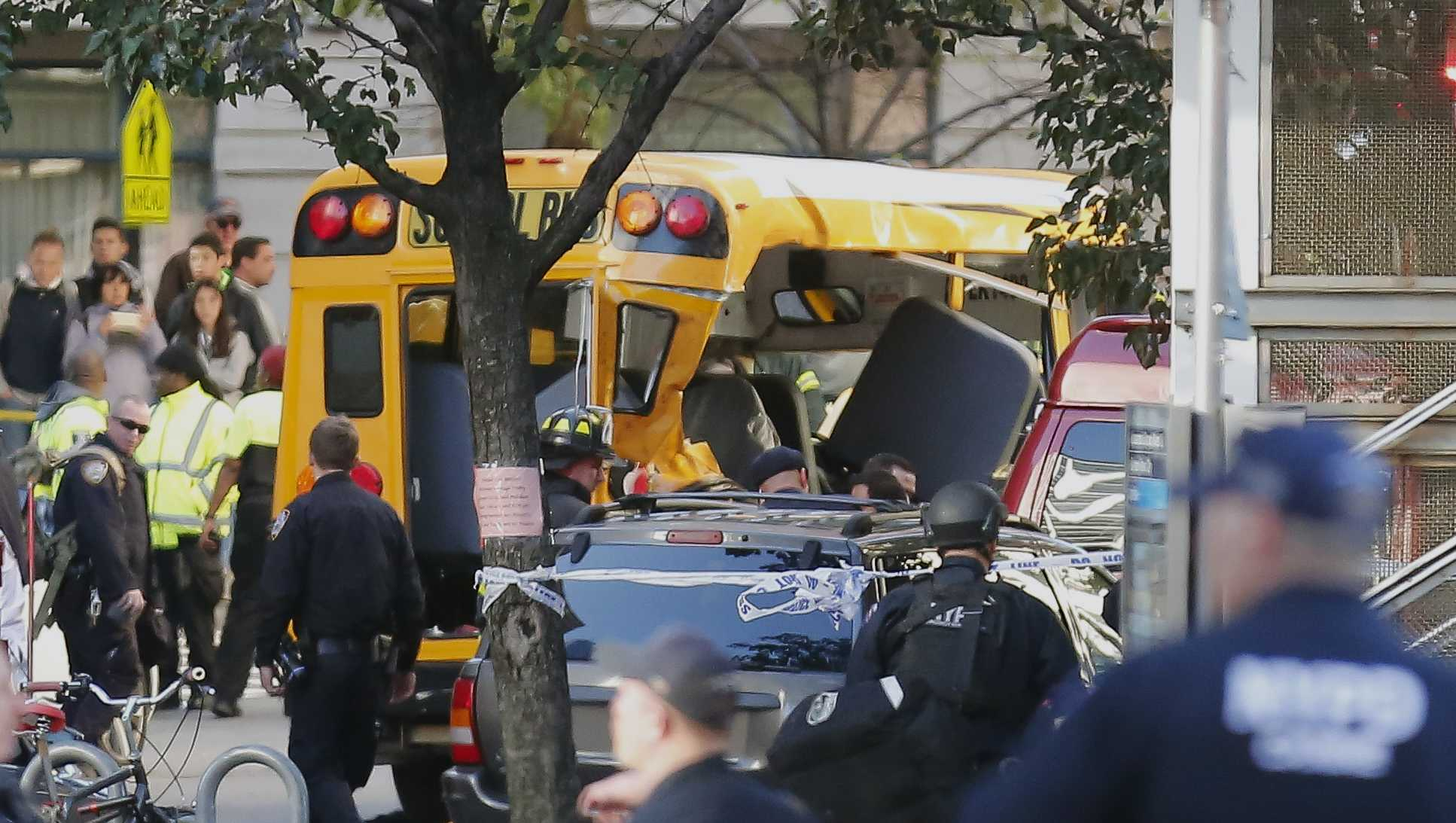 The scene after a man drove a truck along a New York City bike path, killing eight people and injuring more than a dozen on Oct. 31, 2017.