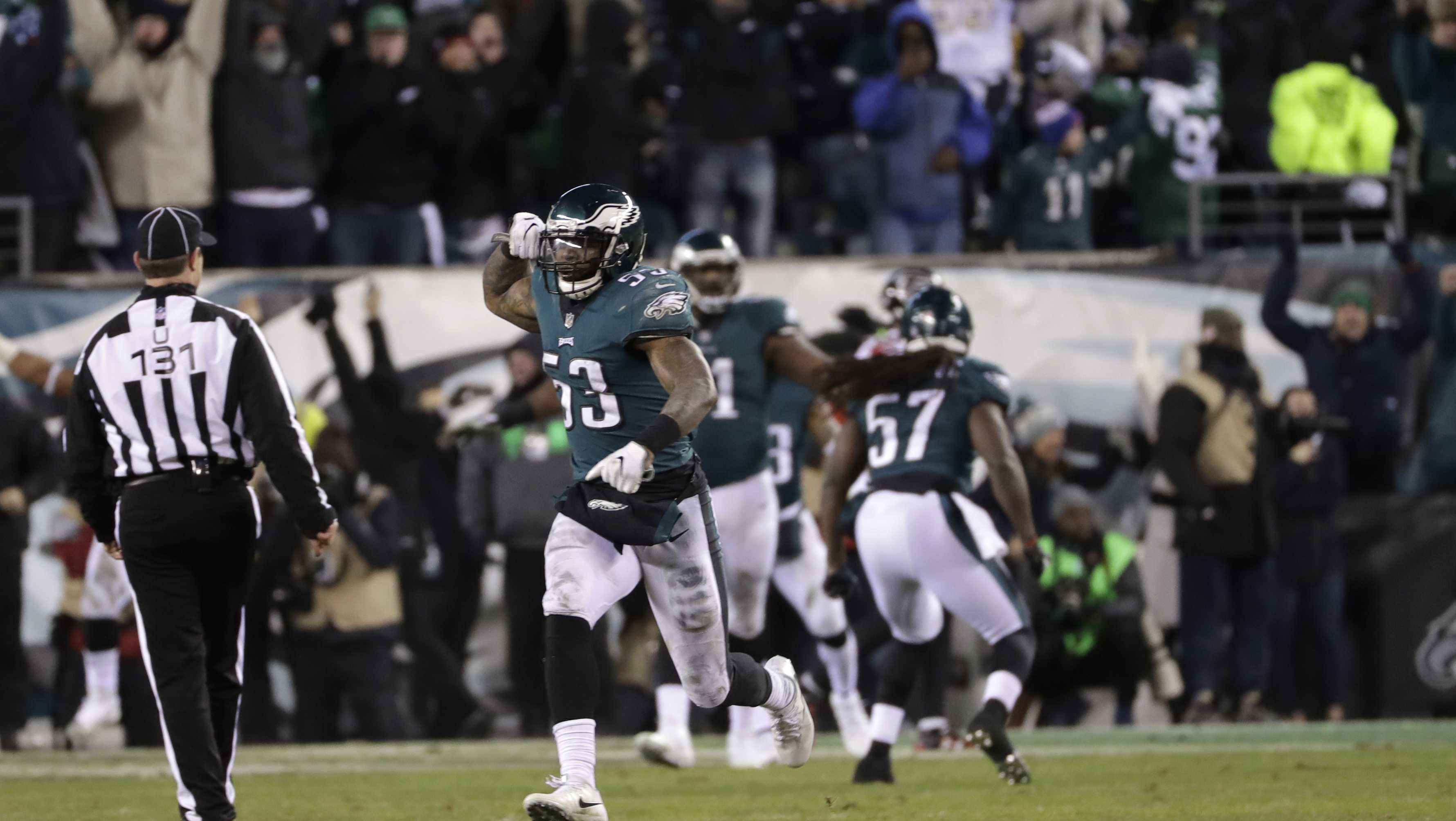 Philadelphia Eagles' Nigel Bradham (53) reacts after stopping the Atlanta Falcons on fourth down during the second half of an NFL divisional playoff football game, Saturday, Jan. 13, 2018, in Philadelphia.