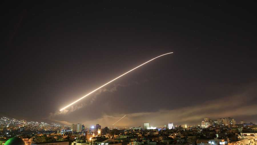 Image result for photos of us allied attack on syria
