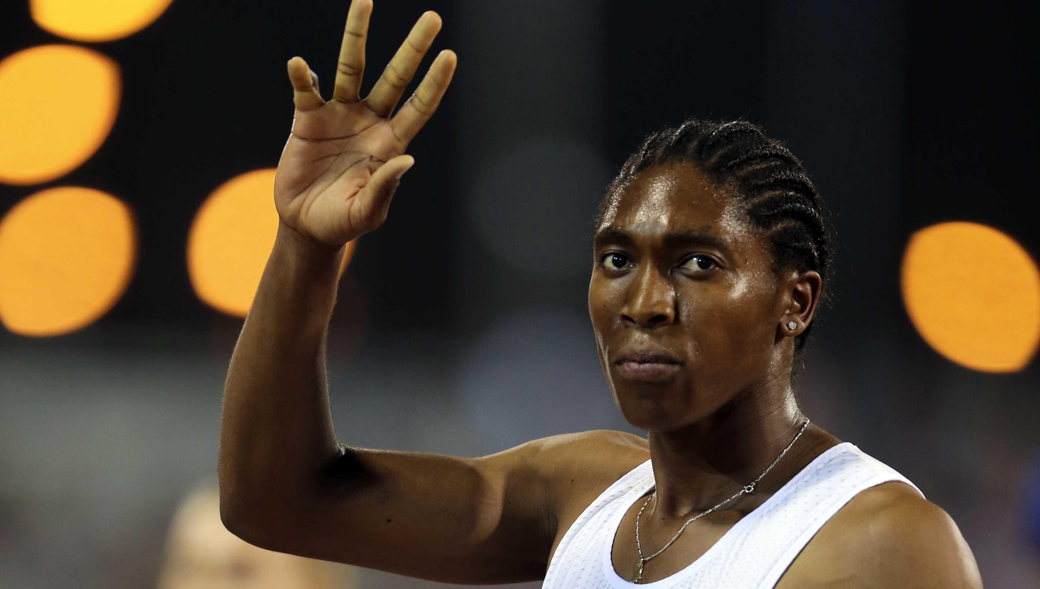 South Africa's Caster Semenya celebrates after she won the woman's 1500 meter during the Qatar Diamond League in Doha, Qatar, Friday, May 4, 2018.