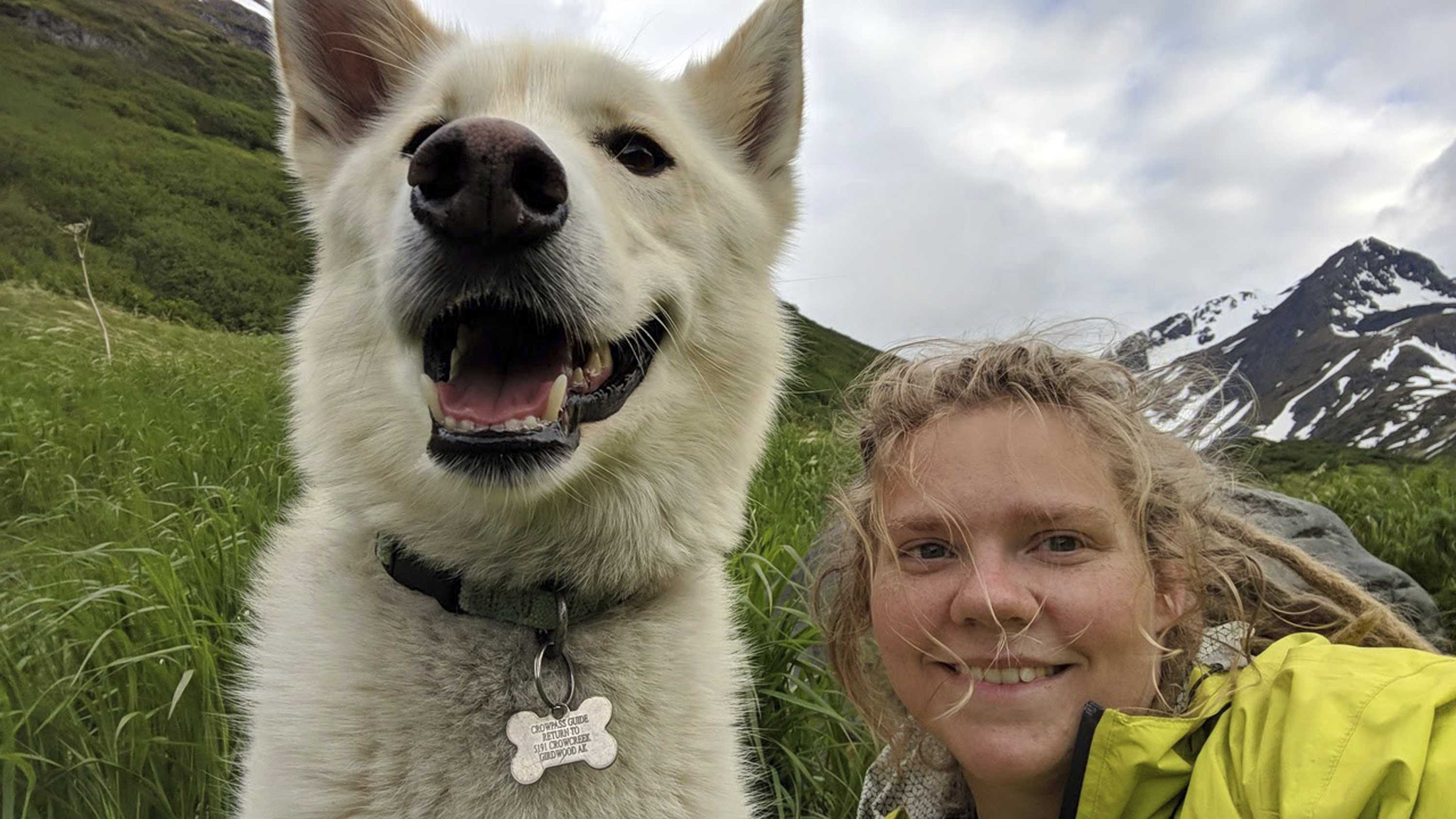 This Tuesday, June 19, 2018, photo by Amelia Milling shows her with a 7-year-old Alaskan husky named Nanook. Milling says the white dog found her after she tumbled down a slope. Nanook's owner, Scott Swift, says Nanook has been taking trips into Chugach State Park for years and accompanies hikers he meets on the trails.