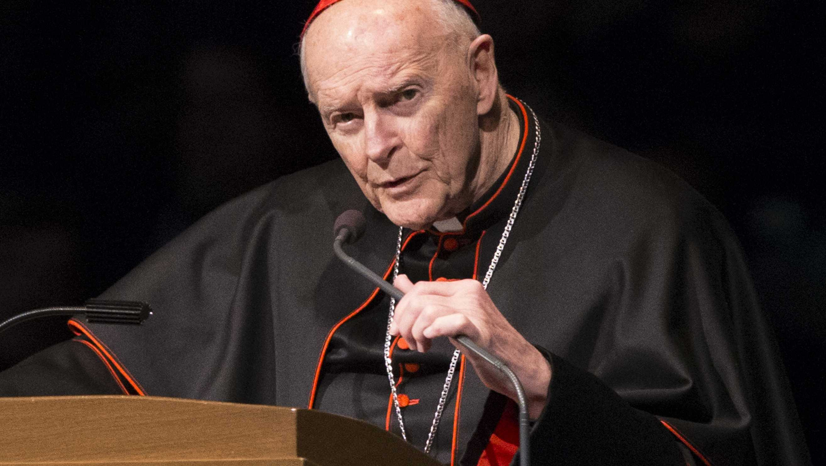 "FILE - In this Wednesday, March 4, 2015, file photo, Cardinal Theodore Edgar McCarrick speaks during a memorial service in South Bend, Ind. Pope Francis has accepted U.S. prelate Theodore McCarrick's offer to resign from the College of Cardinals following allegations of sexual abuse, including one involving an 11-year-old boy, and ordered him to conduct a ""life of prayer and penance"" in a home to be designated by the pontiff until a church trial is held, the Vatican said Saturday, July 28, 2018."