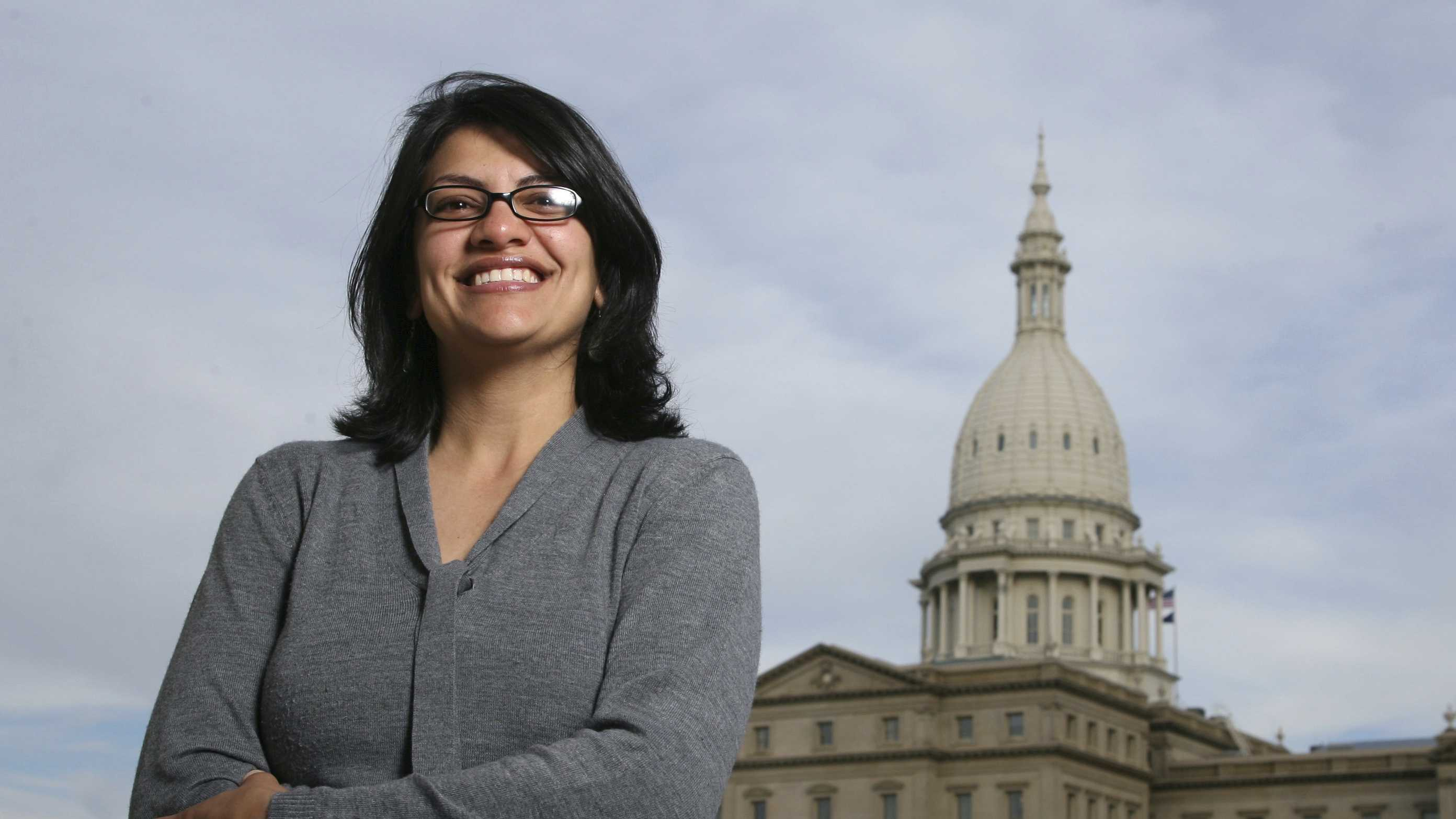 Rashida Tlaib, a Democrat, is photographed outside the Michigan Capitol in Lansing, Mich. The Michigan primary victory of Tlaib, who is expected to become the first Muslim woman and Palestinian-American to serve in the U.S. Congress, is rippling across the Middle East.