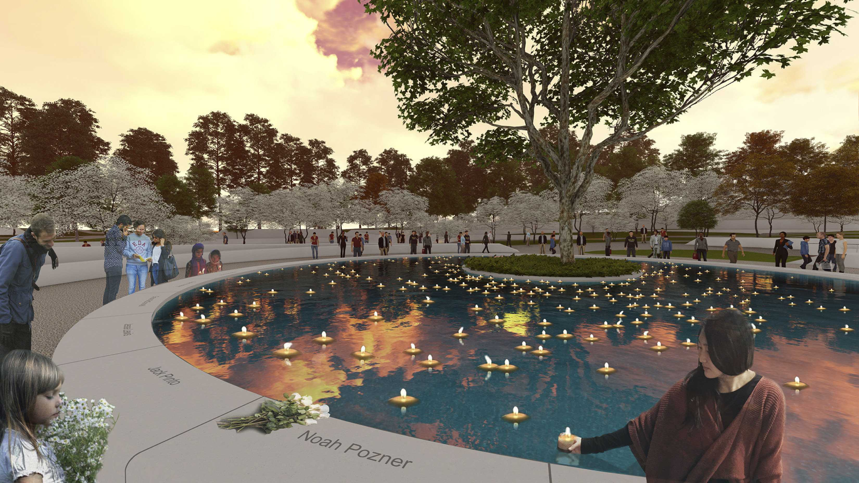 This undated image provided by the Sandy Hook Permanent Memorial Commission on Wednesday, Aug. 8, 2018 shows the design for a permanent memorial to honor the 26 people killed in the 2012 shooting at the Sandy Hook Elementary School in Newtown, Conn. The memorial would be located on a donated 5-acre site near the school, and is projected to be dedicated on Dec. 14, 2019, the seventh anniversary of the shooting. (Sandy Hook Permanent Memorial Commission via AP)