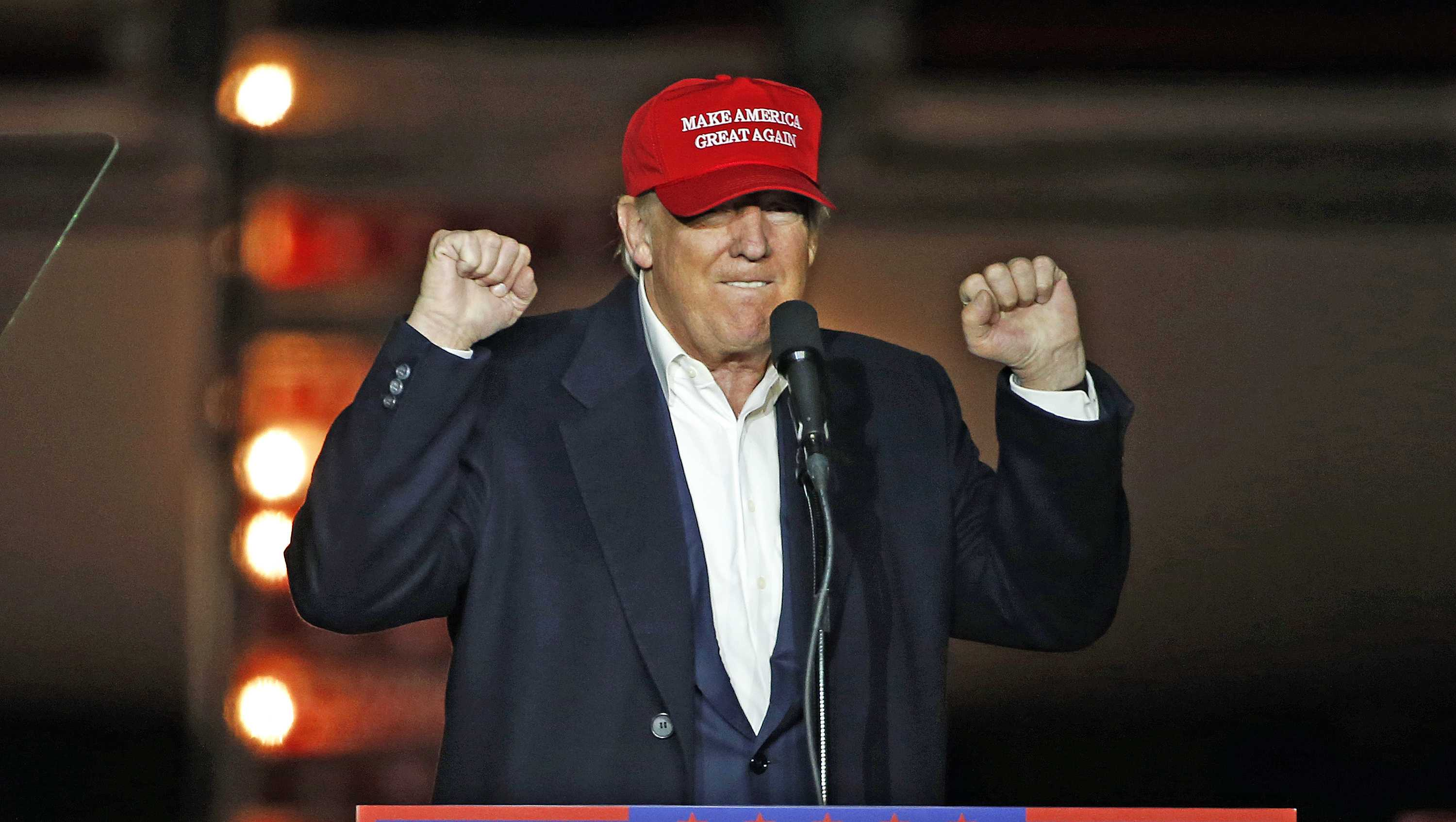 Republican presidential candidate Donald Trump speaks to a campaign rally, Monday, Nov. 7, 2016, in Manchester, N.H.