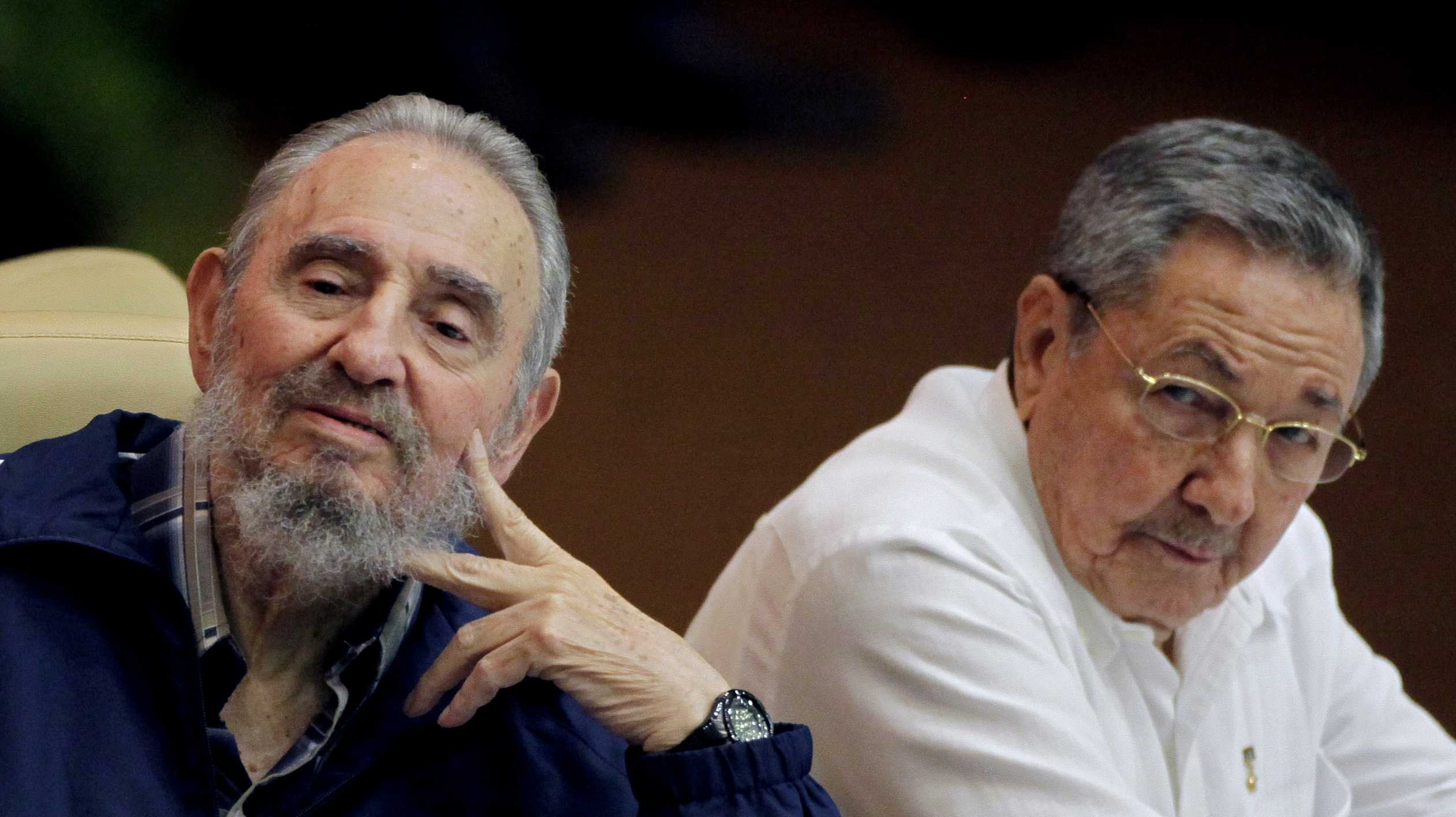 Fidel Castro, left, and Cuba's President Raul Castro attend the 6th Communist Party Congress in Havana, Cuba, Tuesday April 19, 2011. Raul was named first secretary of Cuba's Communist Party on Tuesday, with Fidel not included in the leadership for the first time since the party's creation 46 years ago.