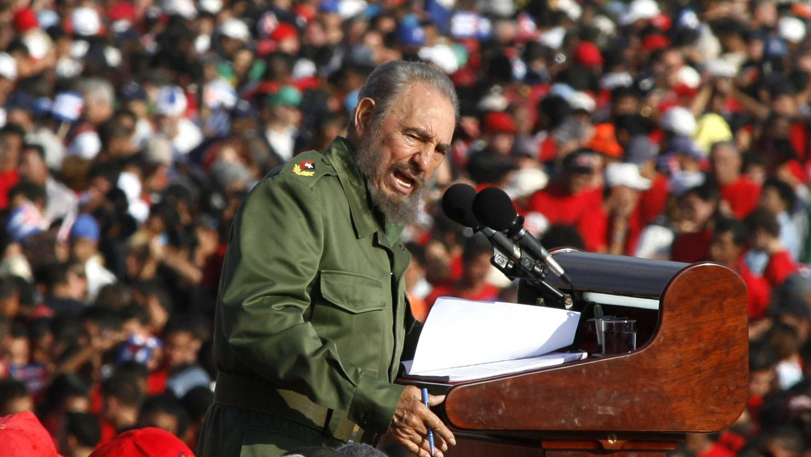 In this May 1, 2006 file photo, Cuba's leader Fidel Castro speaks on International Workers Day in Revolution Plaza in Havana, Cuba. Former President Fidel Castro, who led a rebel army to improbable victory in Cuba, embraced Soviet-style communism and defied the power of 10 U.S. presidents during his half century rule, has died at age 90. The bearded revolutionary, who survived a crippling U.S. trade embargo as well as dozens, possibly hundreds, of assassination plots, died eight years after ill health forced him to formally hand power over to his younger brother Raul, who announced his death late Friday, Nov. 25, 2016, on state television.