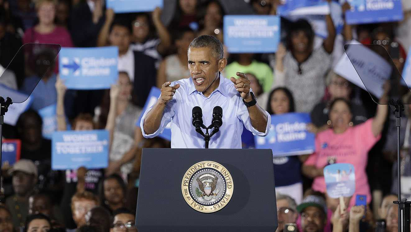 President Barack Obama speaks at a rally Sunday, Oct. 23, 2016, in North Las Vegas, Nev. Obama was in Nevada to boost Hillary Clinton's presidential campaign and help Democrats in their bid to retake control of the Senate.