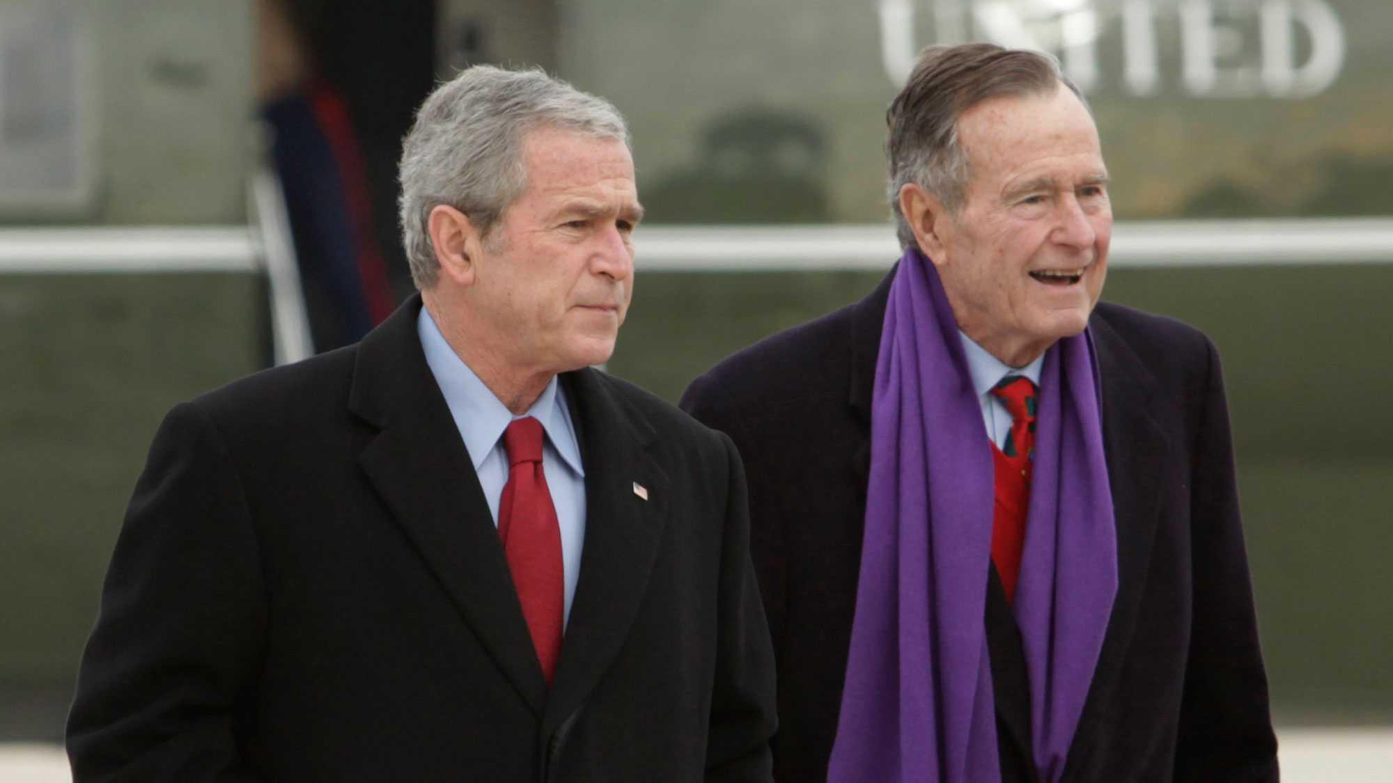 Former Presidents George H.W. Bush and George W. Bush