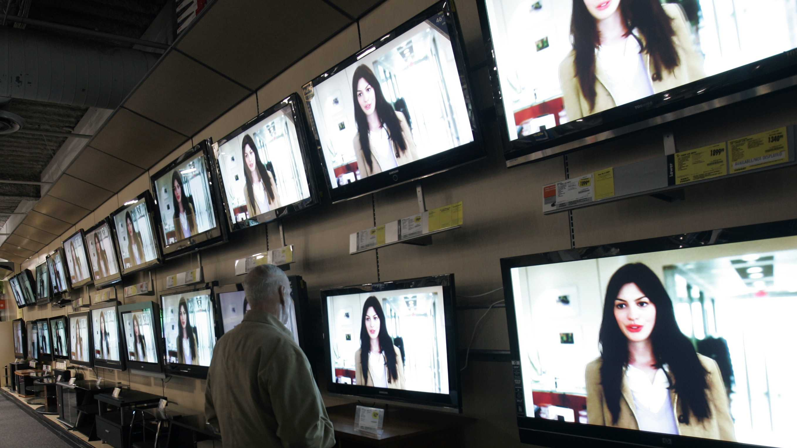 File Photo: TV shopping in an electronics store