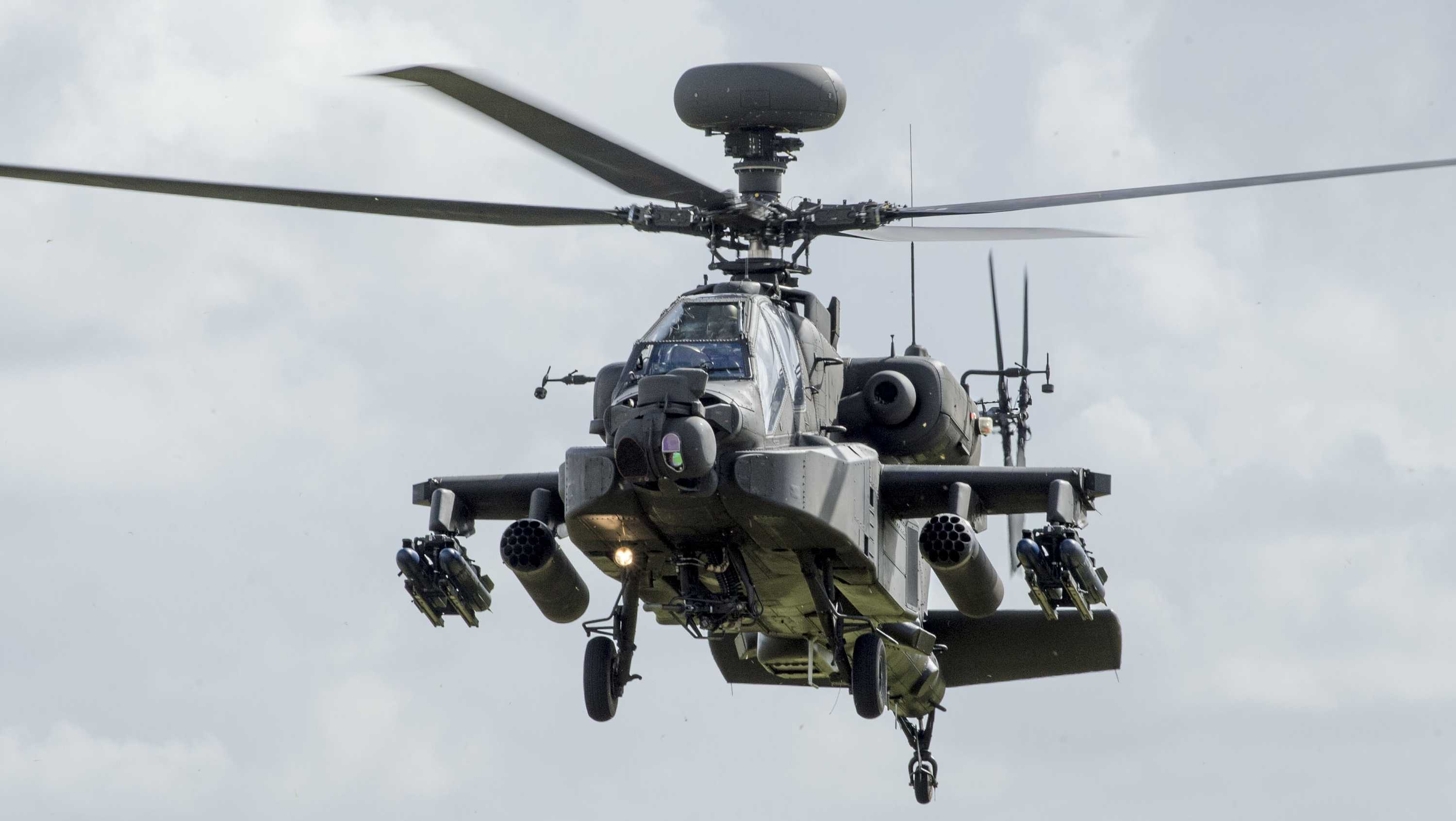 In this file photo, an Apache Helicopter performs a flypast at theMuseum of Army Flying on March 16, 2018 in Stockbridge, England.