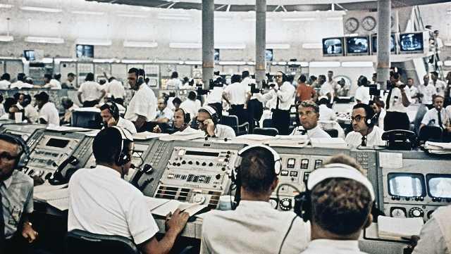 Mission control during Apollo 8 blastoff, Dec. 21, 1968.