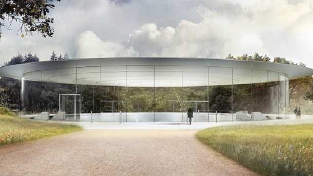 This image provided by Apple shows the Steve Jobs Theater at Apple Park in Cupertino, Calif.