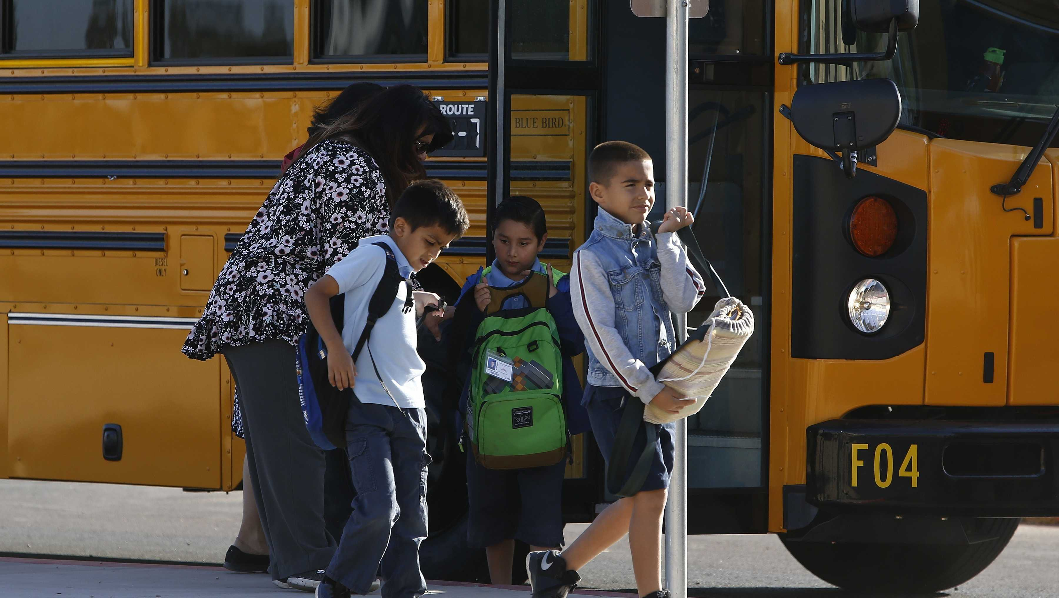 Several Arizona schools resume classes as students return to Tuscano Elementary School Thursday, May 3, 2018, in Phoenix.