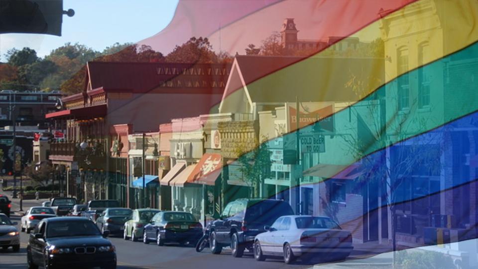 Arkansas rainbow flag LGBT Fayetteville