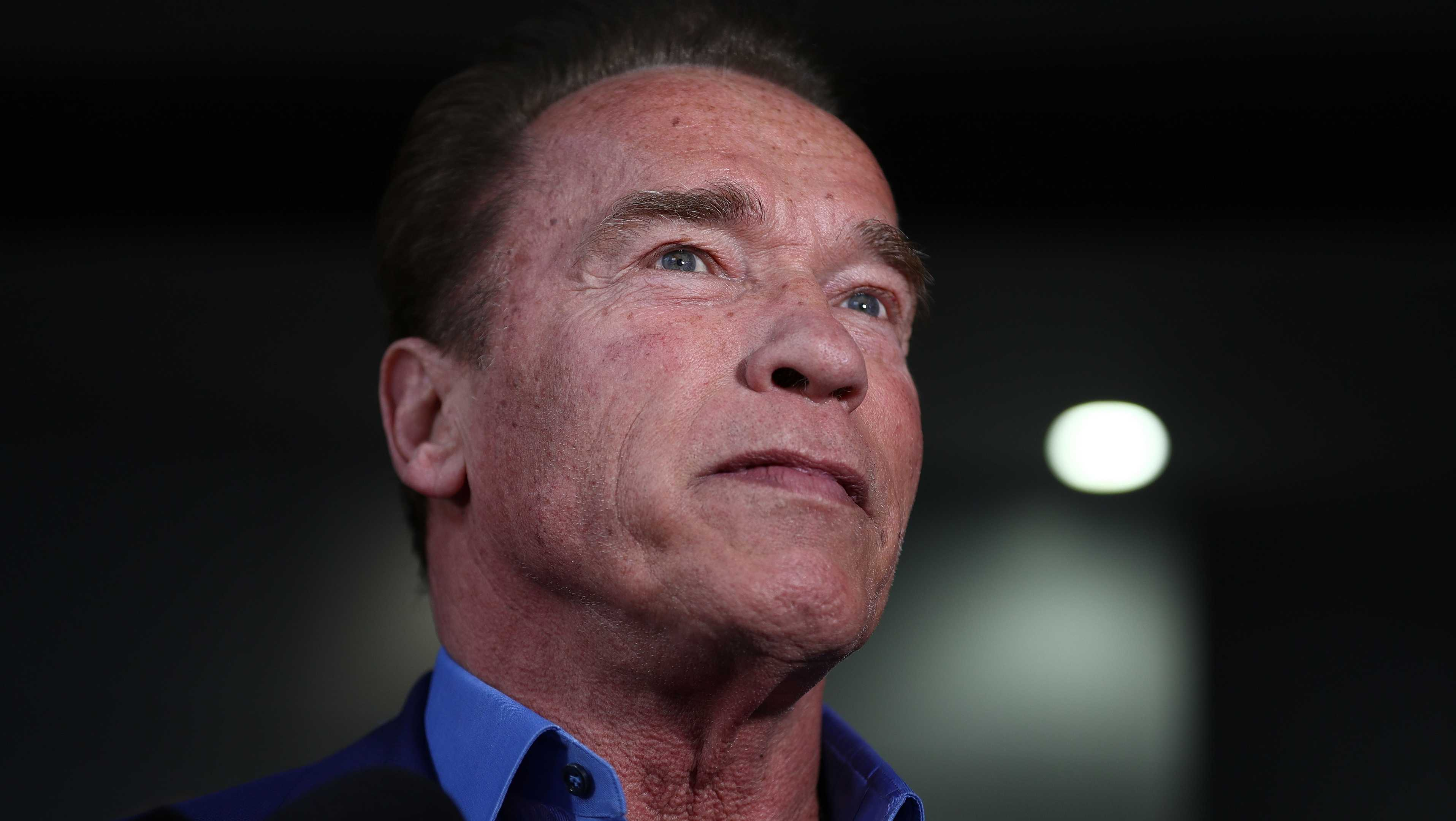 Arnold Schwarzenegger speaks during a press conference at The Melbourne Convention and Exhibition Centre on March 16, 2018.