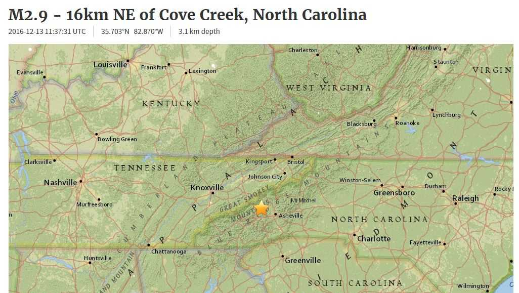 Asheville earthquake