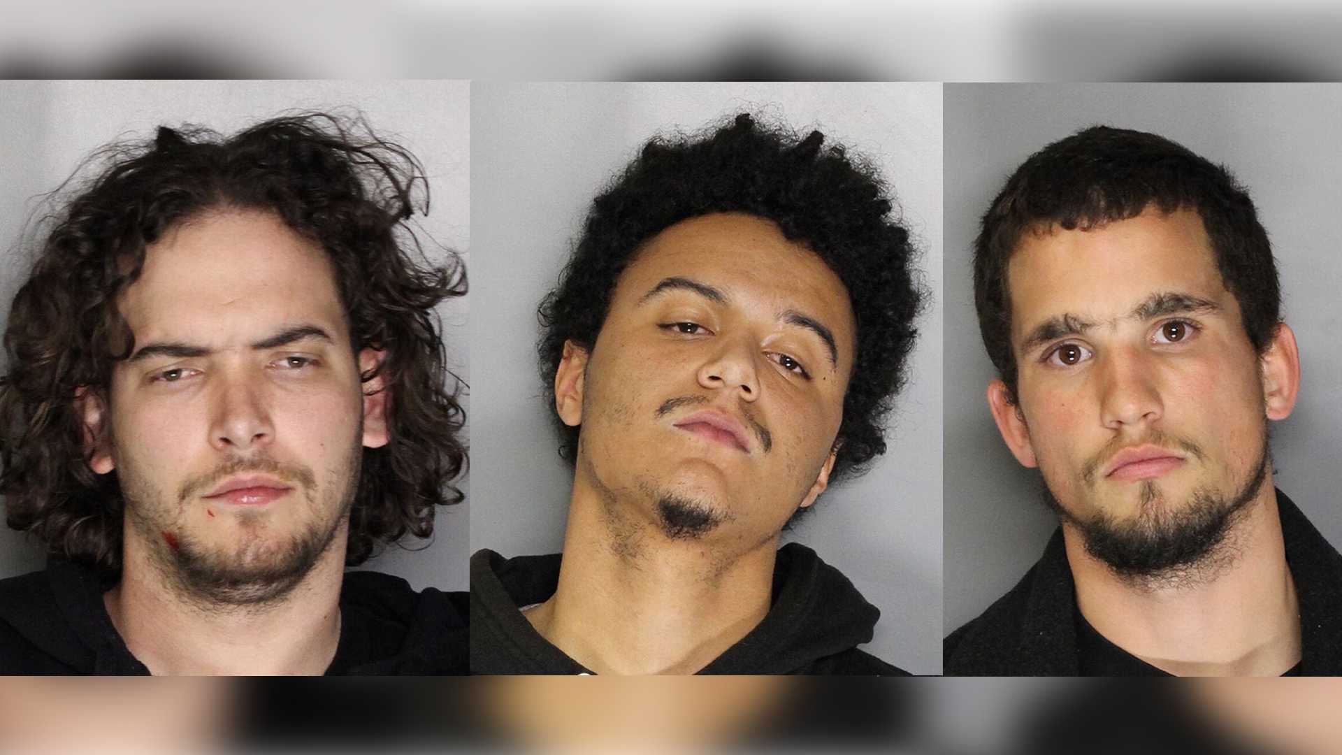 Matthew Schumaker, 24, Lajuane Mowry, 21, and Brian Nieman, 24, were arrested in connection with assaulting a security guard on Sunday, Feb. 5, 2017, the Sacramento Police Department said.