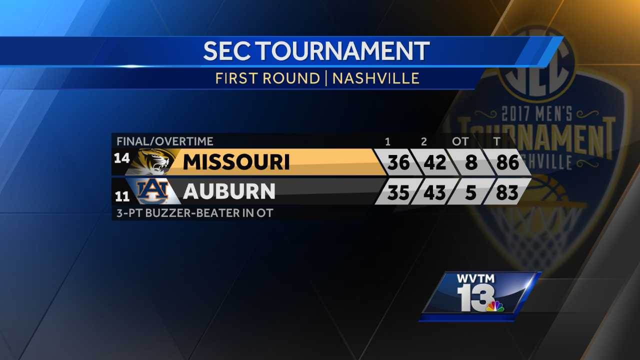 Kevin Puryear hit a 3-pointer just before the buzzer, and Missouri rallied to beat Auburn 86-83 in overtime Wednesday night at the Southeastern Conference Tournament to keep coach Kim Anderson working at least one game longer.