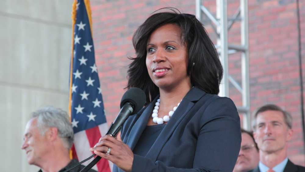 Boston City Councilor Ayanna Pressley spoke at a rally at City Hall Plaza in 2014