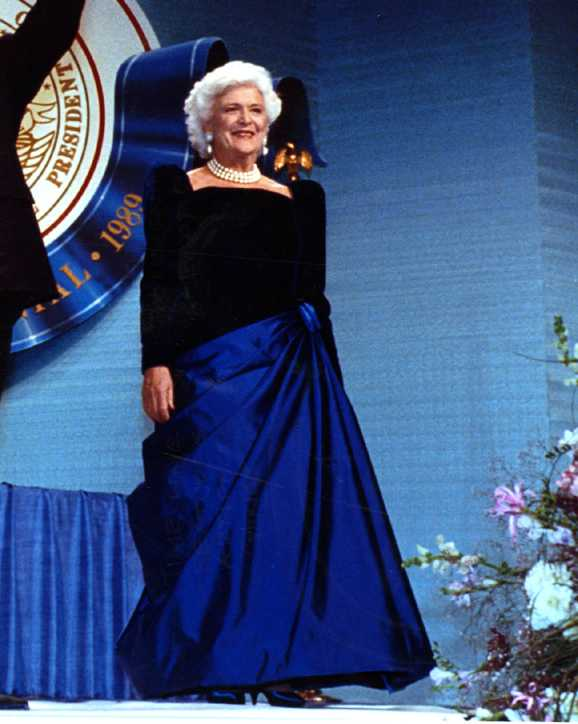 Barbara Bush attends the inaugural ball in 1989.