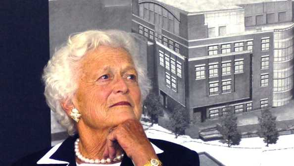 Barbara Bush appears at a ceremony honoring her husband at the Barbara Bush Children's Hospital  in Portland, Maine.