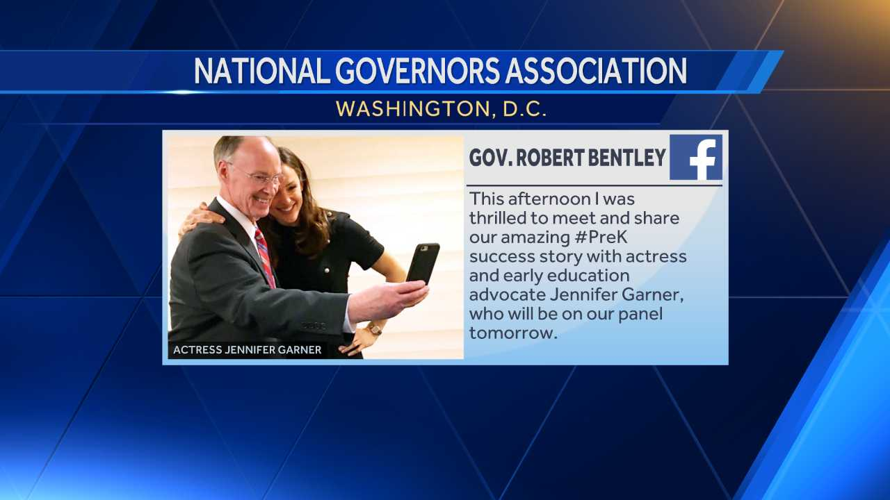 Alabama Gov. Robert Bentley discussed education with actress and early education advocate Jennifer Garner in Washington, D.C., Friday, Feb. 24, 2017.
