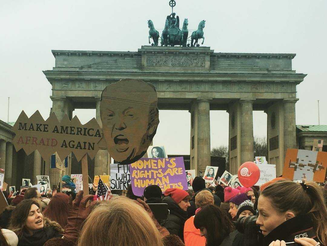Demonstrators rallied against President Donald Trump in front of the Brandenburg Gate in Berlin on Jan. 21, 2017.
