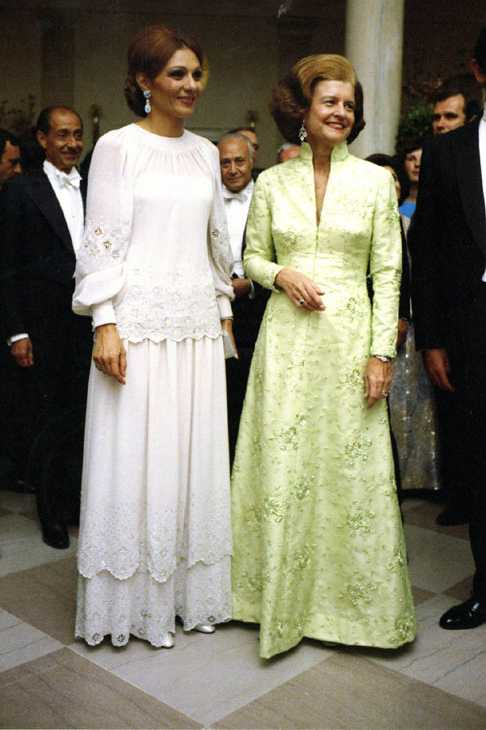 Betty Ford attends a state dinner at the White House for the shah of Iran in 1975.