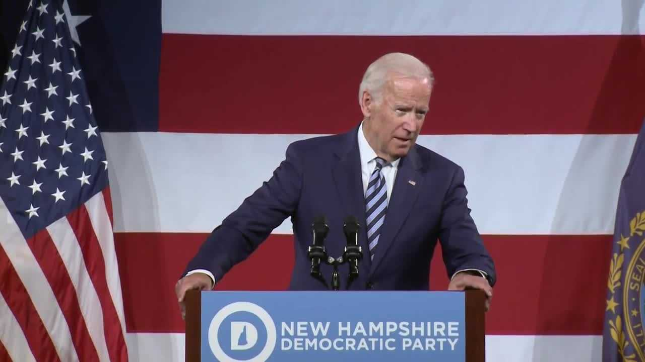 Former Vice President Joe Biden speaks at a New Hampshire Democratic Party fundraiser in Manchester in April.