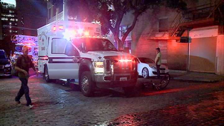 A cyclist was struck by an SUV in the CBD on Friday night.