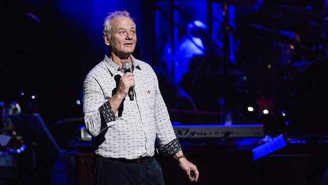 Bill Murray speaks at Love Rocks NYC! at the Beacon Theatre on Thursday, March 9, 2017 in New York.