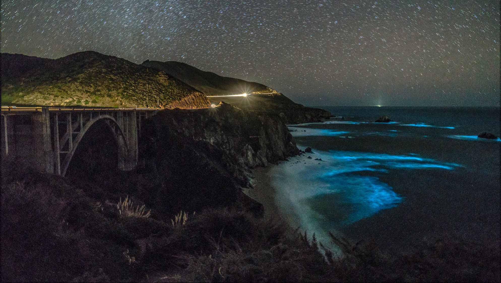 Bioluminescent waves in Big Sur (Feb. 5, 2018)