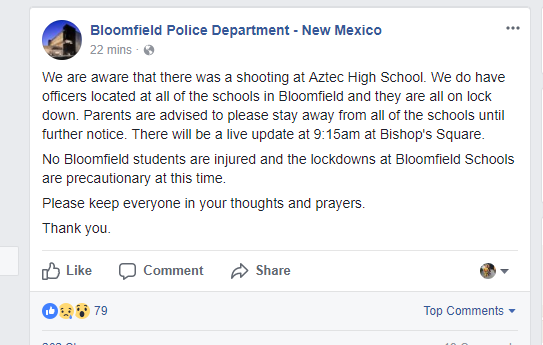 New Mexico high school on lockdown following shooting