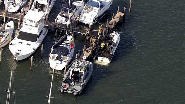 Tracey's Landing boat fire