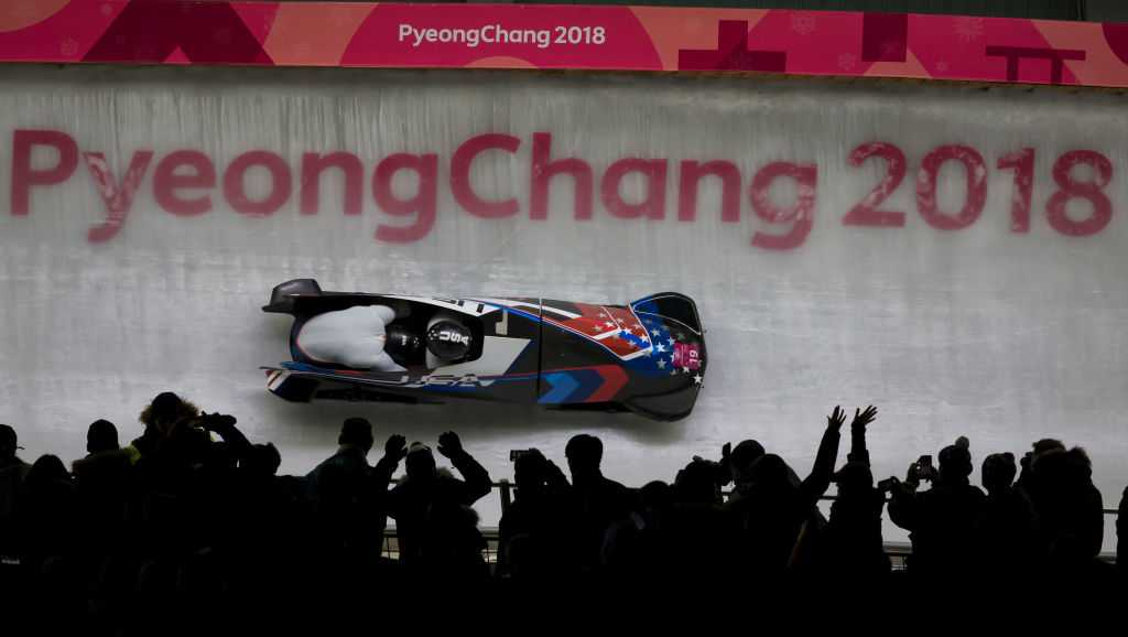 19th February 2018, Pyeongchang, South Korea&#x3B; 2018 Winter Olympic Games, Day 10&#x3B; Alpensia Sliding Centre&#x3B; Pilot Justin Weinstock and Evan Weinstock (USA) on their Heat 3 run of the two man Bobsleigh