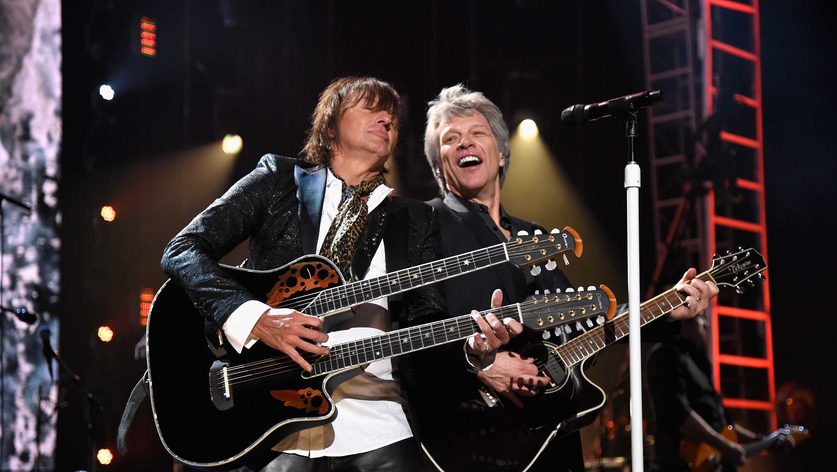 Inductees Richie Sambora and Jon Bon Jovi of Bon Jovi perform during the 33rd Annual Rock & Roll Hall of Fame Induction Ceremony at Public Auditorium on April 14, 2018 in Cleveland, Ohio.