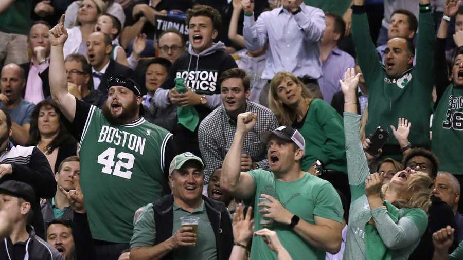 Boston Celtics fans celebrate