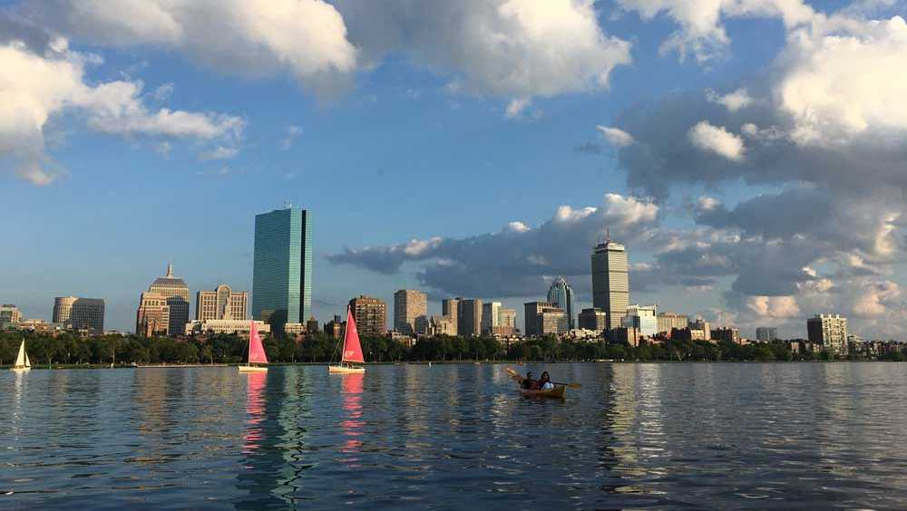 Boston summer skyline with sailboats