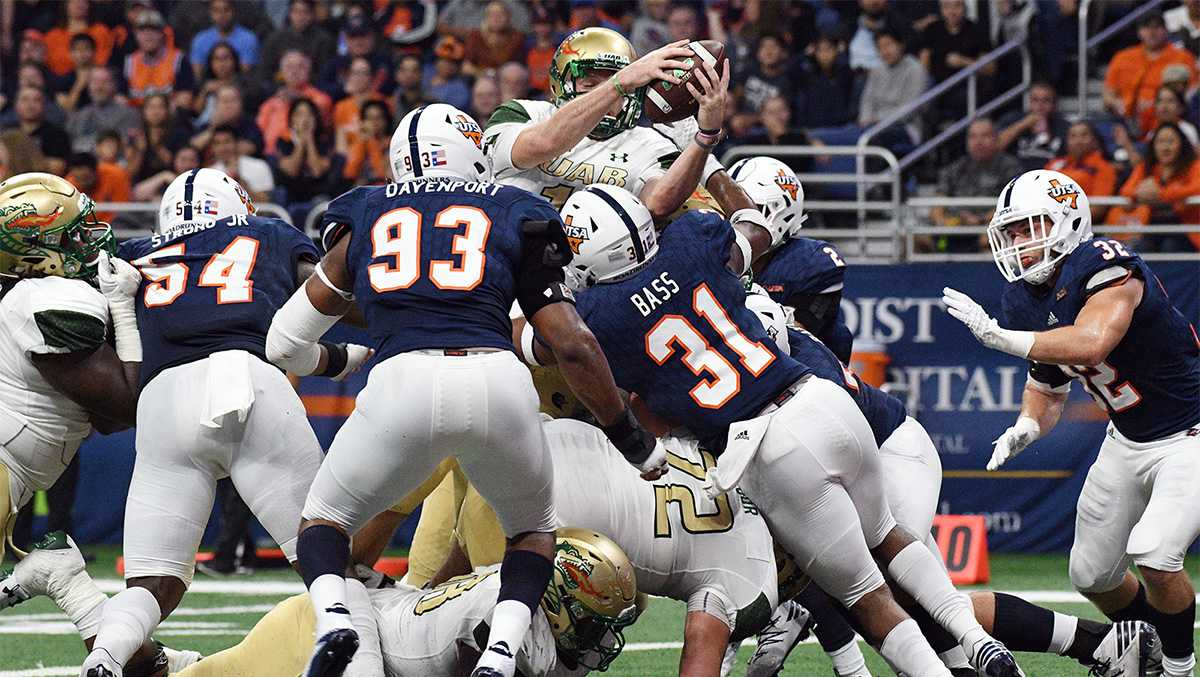 A.J. Erdely set the UAB single season record for rushing touchdowns by a quarterback and UAB matched a program record for FBS victories with a 24-19 win at UTSA on Saturday night at the Alamodome.