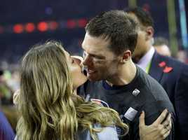 Tom Brady kisses Gisele
