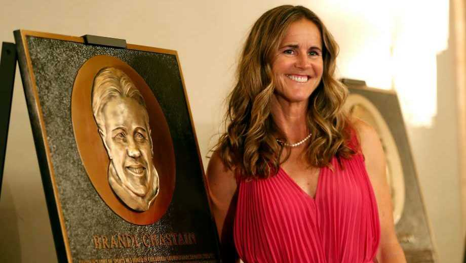 2018 Bay Area Sports Hall of Hame inductee Brandi Chastain poses by her plaque during a press conference in San Francisco on Monday, May 21, 2018.
