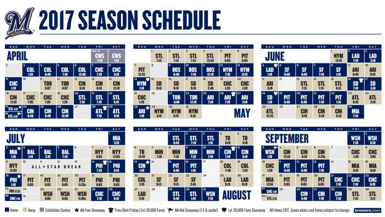It is an image of Légend Brewers Schedule Printable