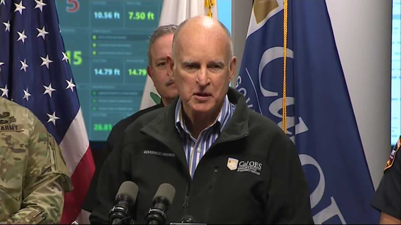Gov. Jerry Brown spoke at the California Office of Emergency Services center Monday, Feb. 13, 2017, about the emergency situation at Lake Oroville.