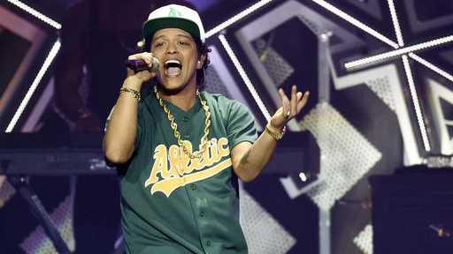 Bruno Mars performing in California