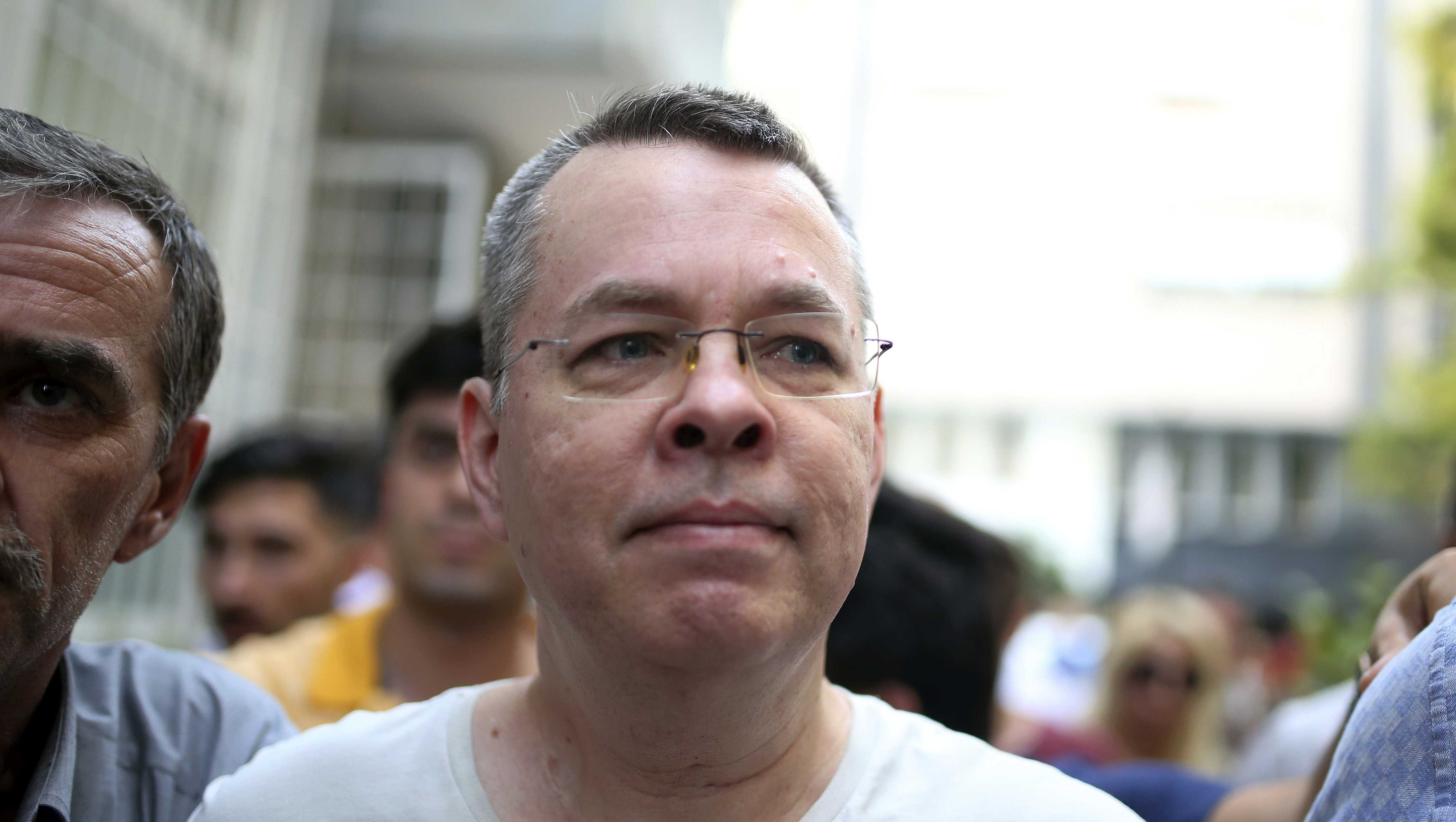 Andrew Craig Brunson, an evangelical pastor from Black Mountain, North Carolina, arrives at his house in Izmir, Turkey, Wednesday, July 25, 2018.